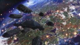 Frontier fleet dropping towards planet