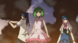 Ranka flanked by Alto and Sheryl with smoke and fire rising around them