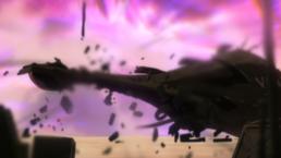 Dimension Eater destroys Zentradi ship