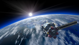Toybox in orbit over earth with a sunrise ahead