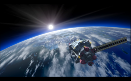 Toy Box in orbit over earth