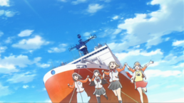 girls jumping in front of icebreaker ship