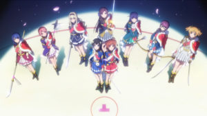 The cast of Revue Starlight on stage seen from above